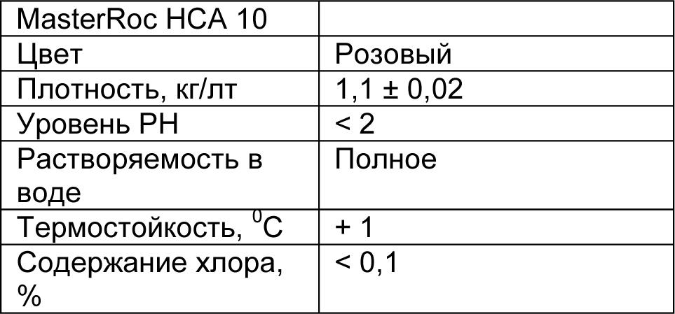 MasterRoc HCA 10 табл 1