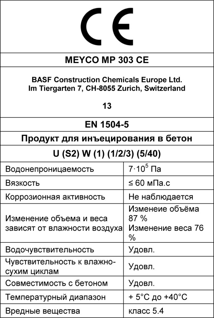 MasterRoc MP 303 CE табл 3