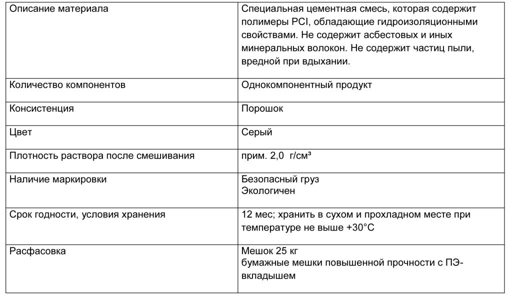 PCI Barraseal табл 1